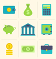 Flat icons of financial and business items - vector