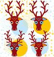 Four brown deer on an orange light blue background vector