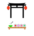Japanese gate and a table with sushi vector
