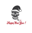 Skull with a cracker in his mouth and a santa vector
