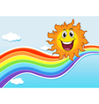A smiling sun near the rainbow vector