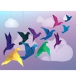 Origami birds flying and fake clouds background vector