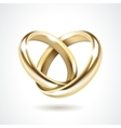 Gold wedding rings isolated vector