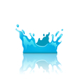 Blue water splash crown with reflection isolated vector