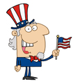 Uncle sam smiling and waving a flag vector