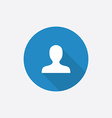 Profile flat blue simple icon with long shadow vector