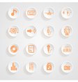 Music set icons button shadows set vector