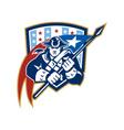 American patriot holding brandish flag crest vector