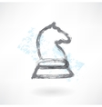 Chess knight grunge icon vector