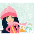 Little girl and snowman vector