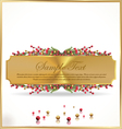 Golden banner with red and gold berries vector