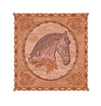 Horse and oak leaves and acorns woodcarving vector