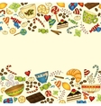 Tea coffee and sweets doodle template pattern vector