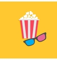 3d glasses and popcorn cinema icon in flat dsign vector