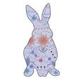 Vintage blue rabbit vector