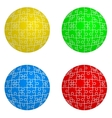 Jigsaw puzzle set form of spheres four colors vector
