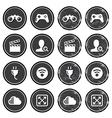 Web navigation icons on retro labels set vector