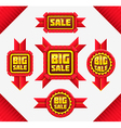 Set of red sale badges vector