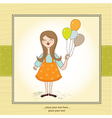 Funny girl with balloon birthday greeting card vector