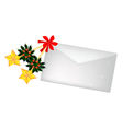 Golden stars and christmas holly with a letter vector