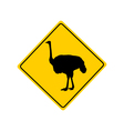 Ostrich warning sign vector