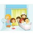 Children in bathroom vector