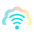 Wi fi icon in colored cloud vector