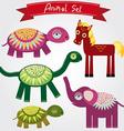 Cute animal set horse elephant turtle vector