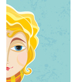 Blond girl face part close up vector