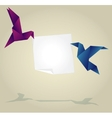 Origami birds holding empty paper banner vector