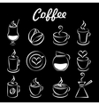 Set of coffee icons on black vector