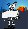 Robot holding a blank information board vector