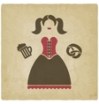 Oktoberfest girl with beer mug and pretzel vector