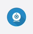 Web camera flat blue simple icon with long shadow vector