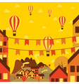 Autumn small town with air balloons vector