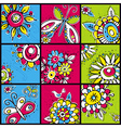 Hand draw flowers in color squares vector