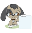 Dog holding a blank sheet of paper vector