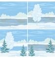 Set winter landscapes vector