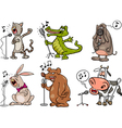 Singing animals set cartoon vector
