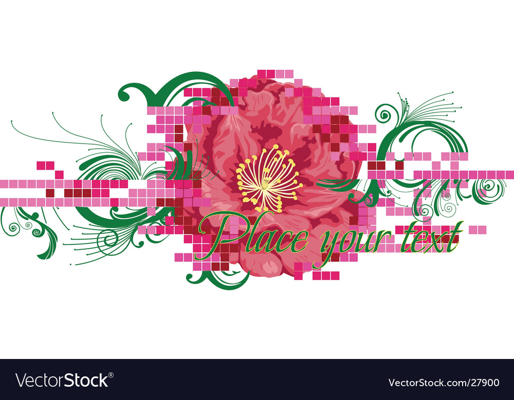 Digital flower banner vector | Price: 1 Credit (USD $1)