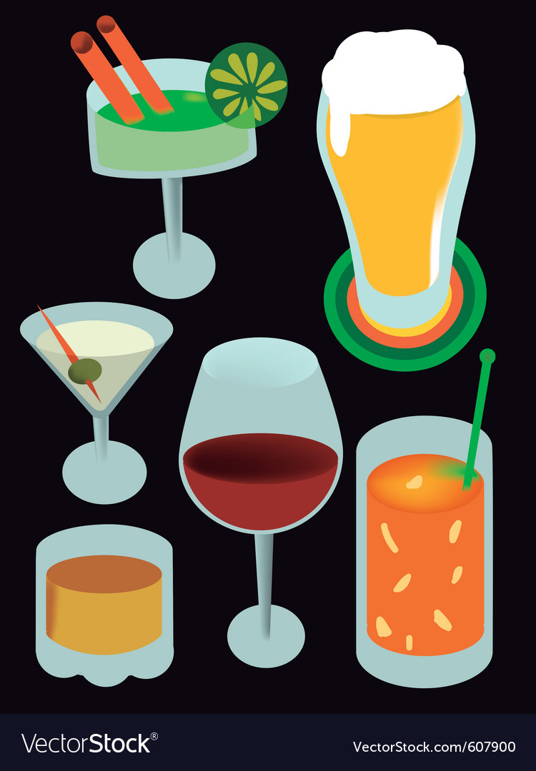 Drinks with alcohol vector | Price: 1 Credit (USD $1)