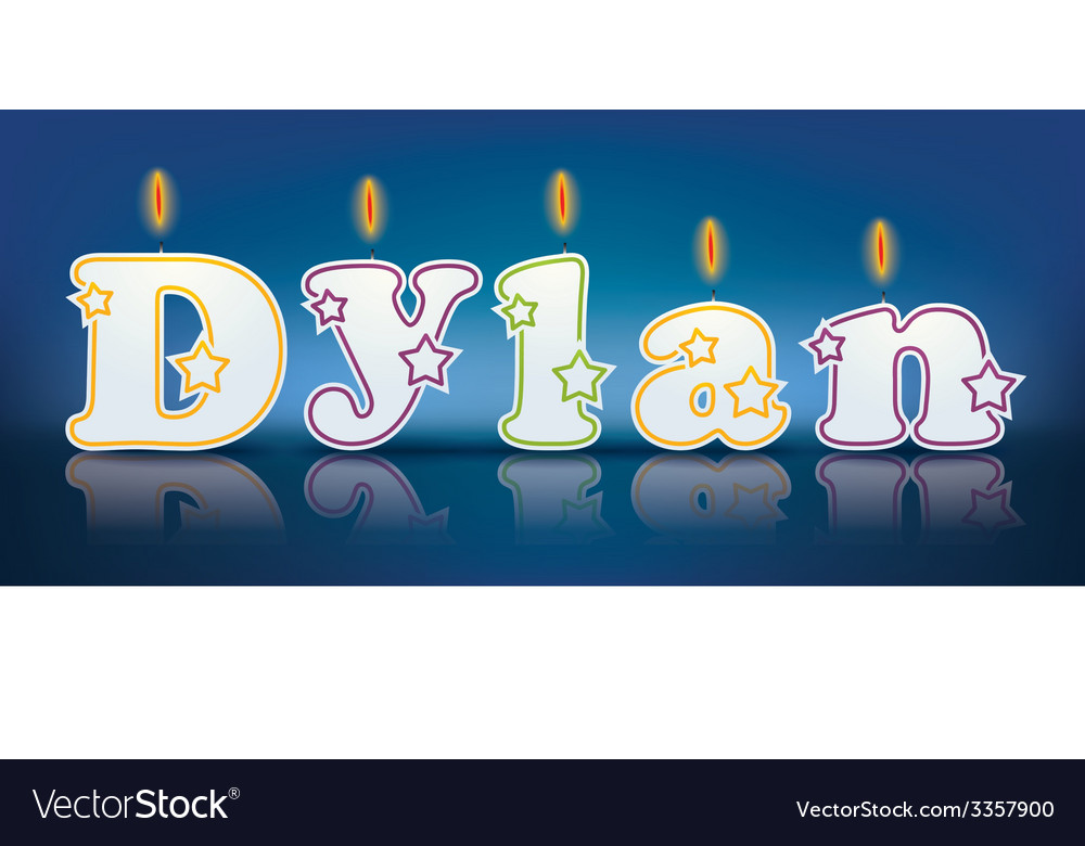 Dylan written with burning candles vector | Price: 1 Credit (USD $1)