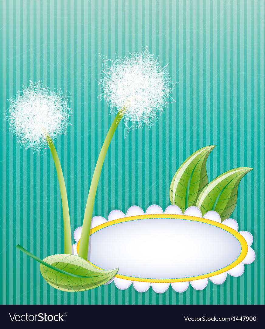 Green layout with dandelions vector | Price: 1 Credit (USD $1)