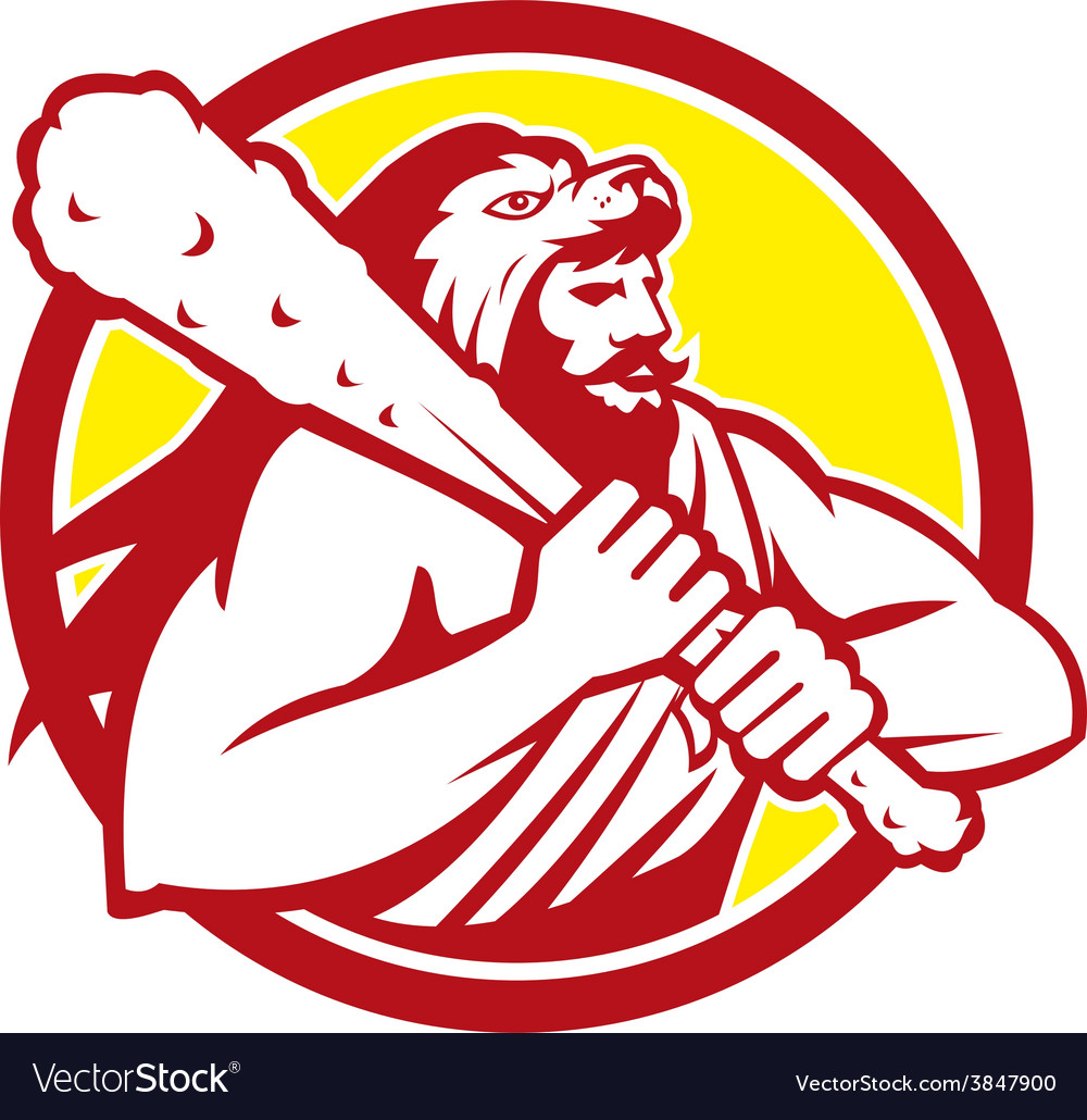 Hercules lion skin wield club circle retro vector | Price: 1 Credit (USD $1)