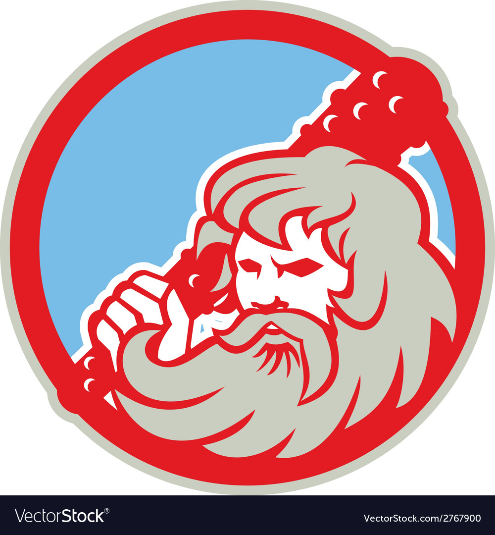 Hercules wielding club circle retro vector | Price: 1 Credit (USD $1)