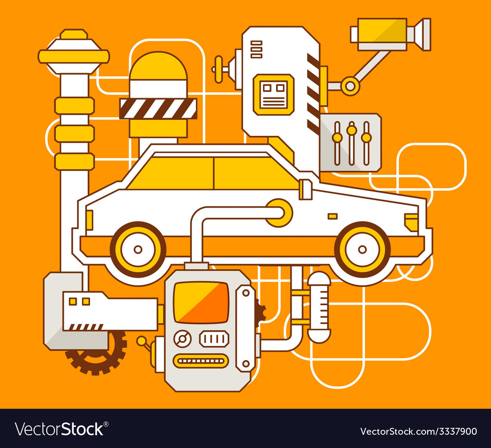 Industrial of the mechanism of car vector | Price: 3 Credit (USD $3)