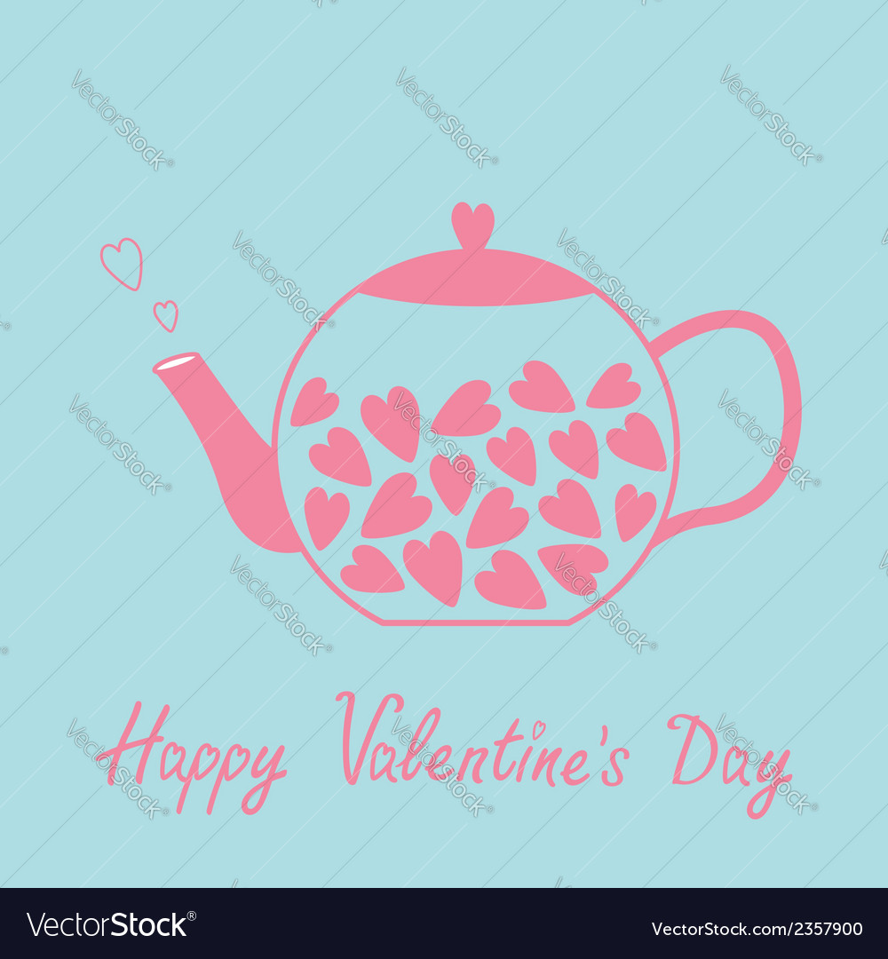 Love teapot with hearts happy valentines day card vector | Price: 1 Credit (USD $1)