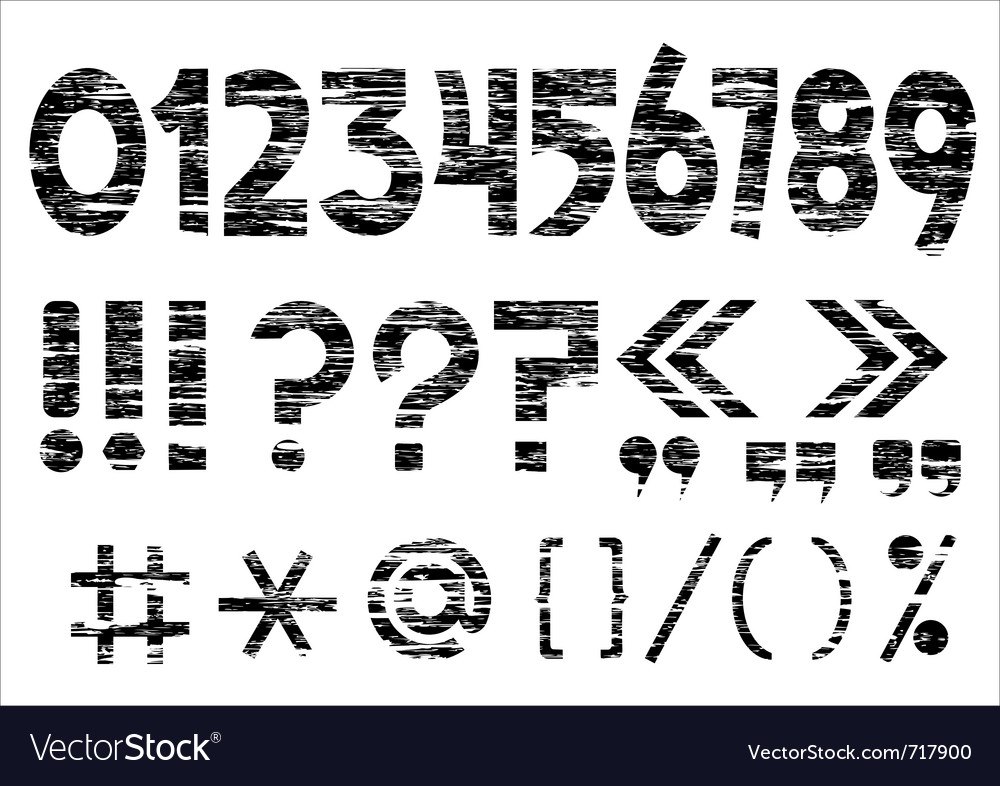 Numbers 0-9 and punctuation marks on grunge style vector | Price: 1 Credit (USD $1)