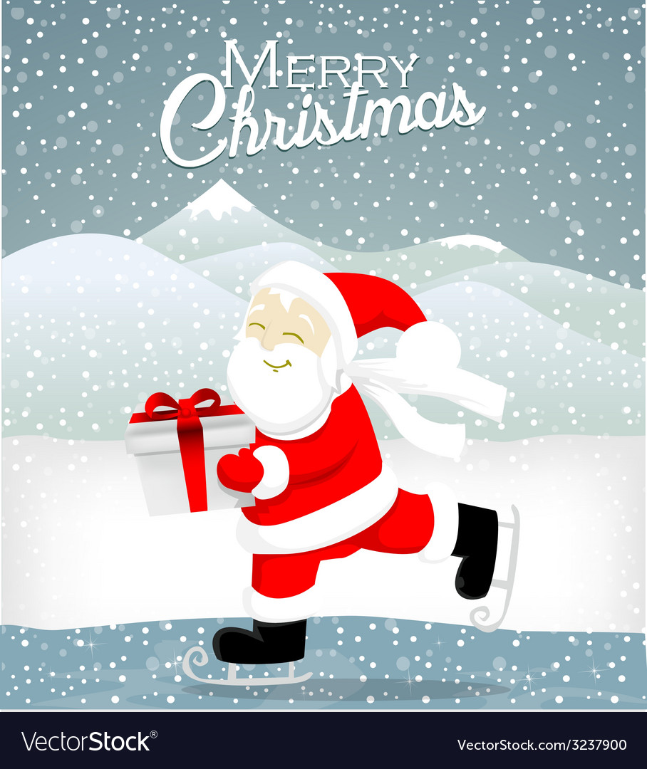 Santa skate on ice vector | Price: 1 Credit (USD $1)