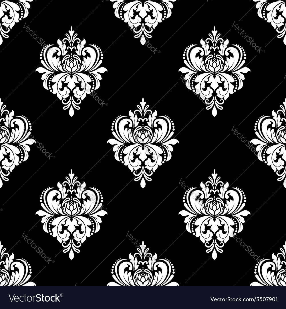 Black and white classic flowers seamless pattern vector | Price: 1 Credit (USD $1)